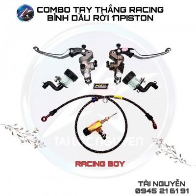 COMBO TAY THẮNG VÀ TAY CÔN RCB BÌNH DẦU RỜI 17mm XÁM TITAN (dây dầu Morin +ty côn+tay thắng và côn bình dầu rời).