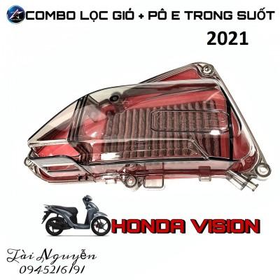 COMBO PÔ E TRONG SUỐT + LỌC GIÓ ĐỘ CHO HONDA VISION 2021