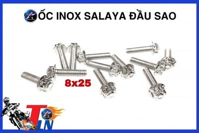 ỐC INOX SALAYA ĐẦU SAO SIZE 8x25 và 8X30